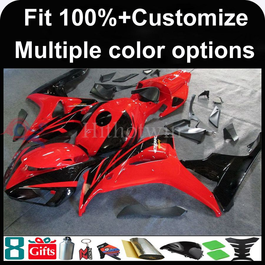 INJECTION MOLDING Fairing tank cover+ red black Injection Mold ABS cover 2006 2007 CBR1000RR motorcycle Fairing for Honda