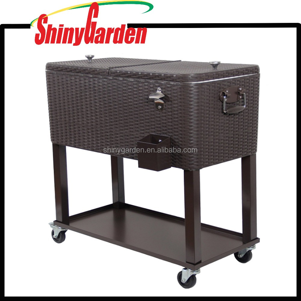 Rolling Rattan Cooler Cart Outdoor Patio Party Cooling Table with Shelf,Brown Wicker Pattern