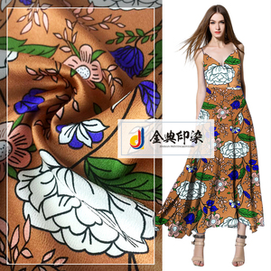 China factory colorful floral printed composition crepe silk satin dress fabric