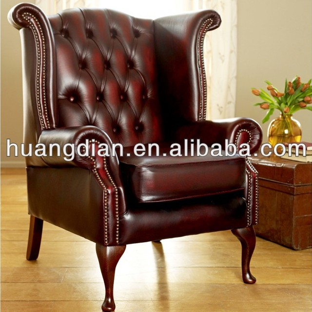 french style antique red leather wingback handcrafted tufted chesterfield single sofa furniture with hammer nail for hotel
