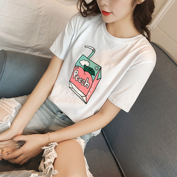 MS75186L Wholesale women printed t-shirts cheap tops