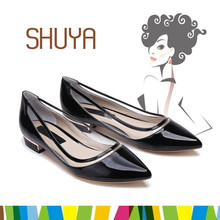 Made in China high quality ladies fashion shoes black casual leather shoes