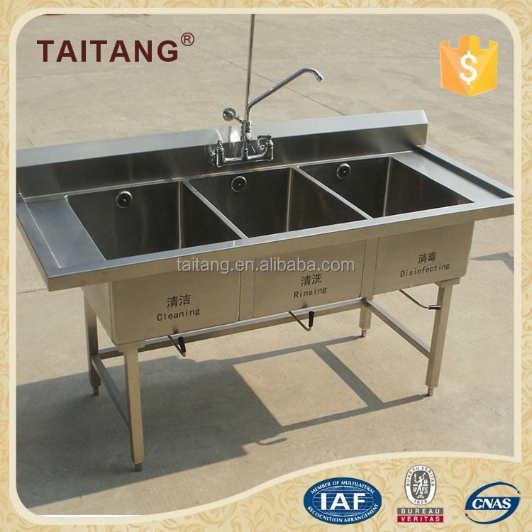 Triple kitchen sink stainless steel wash basin mirror for Wash basin mirror price