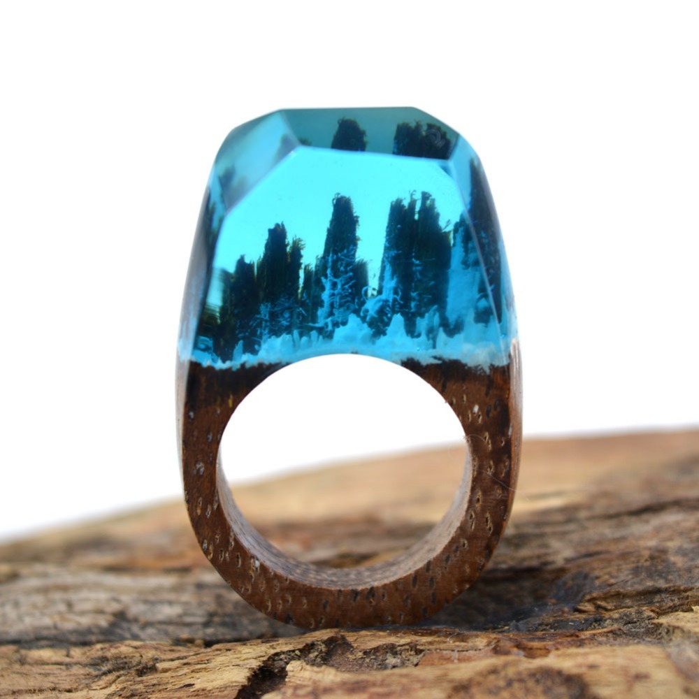 Handmade Wooden Resin Ring with Magnificent Tiny Fantasy Snow Falling Secret Landscape Jewelry Wholesale