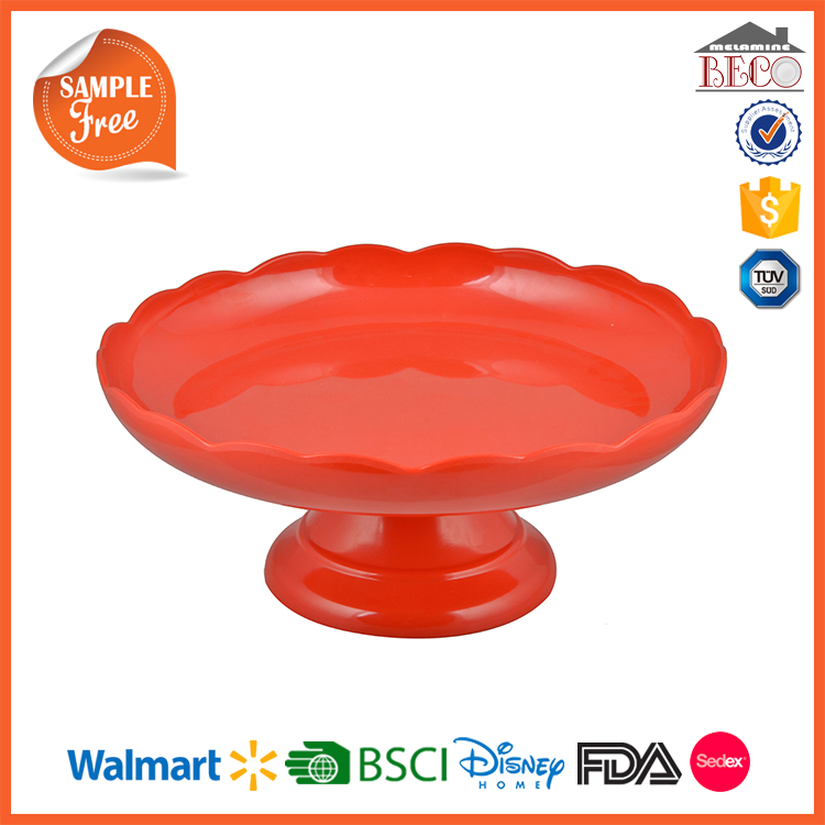 Orange Flower Edge Plastic Melamine Wedding Cake Stand With Custom Color