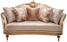 Luxury Replicated Venetian Gold Two Seater Sofa with Ivory Soft Fabric, Noble Italian Villa Sofa BF11-11262d