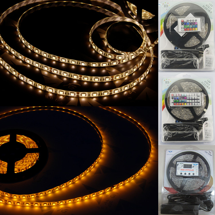 Low price intense lumens ceiling channel show case deco 12v 5050 led tape led flexible strip light 5050 smd 24 44 key remote kit