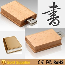 2015 popular new wooden book shaped usb flash drive