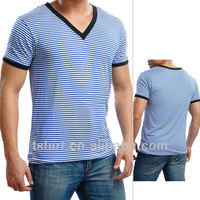 mens striper v neck men t shirt