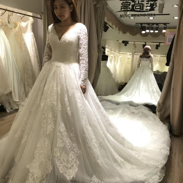 2018 long sleeve bride dress wedding gown