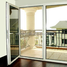 Office/balcony tempered glass french window sale by alibaba golden window manufactory supplied toughened glass window