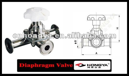 Sanitary 3 Way Manual Operated Diaphragm Valve