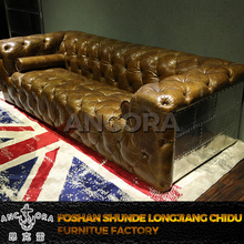 American style living room leather sofa,antique living room funiture A116A
