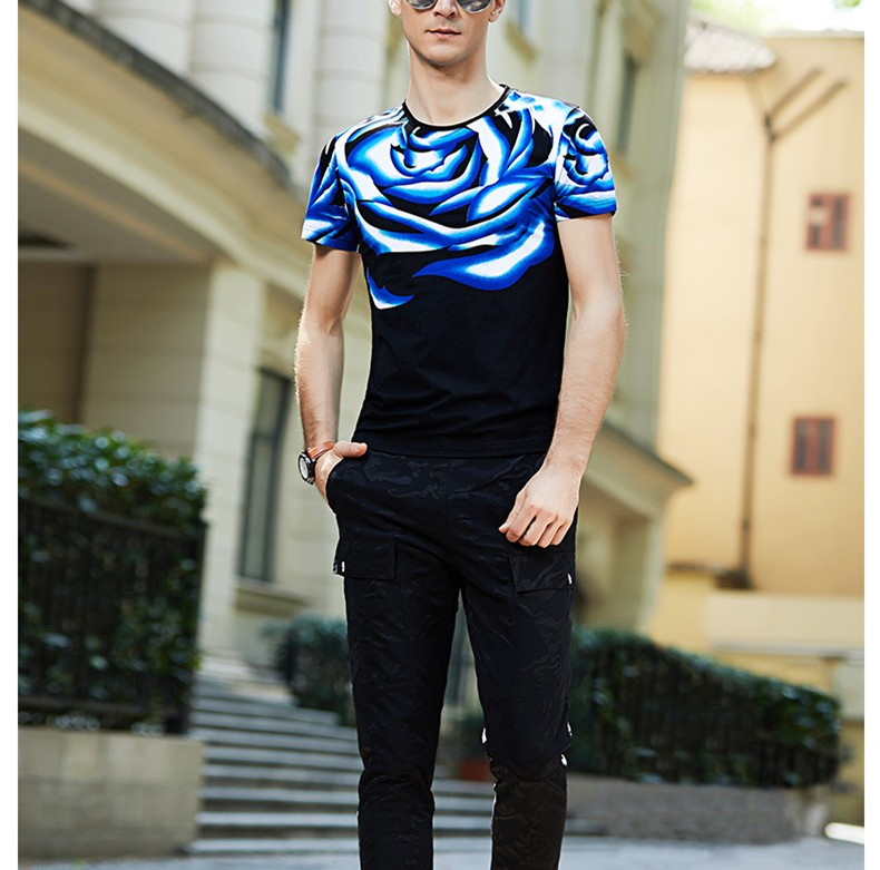 Custom 95 Cotton 5 Elastane 3D Rose Printed T-Shirts Wholesale Casual Black Basic T Shirts