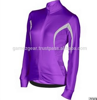 Purple Full Zip Cycling Top For Ladies