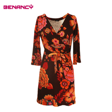 2017 Knitted Floral Print Wrap Dress For Middle Aged Woman