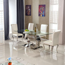 simple high glass dining table for restaurant using