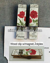 Beautiful flower wooden peg wholesale, latest design S/2 wooden bag peg