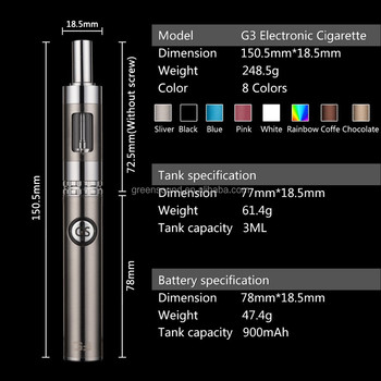 2015 Green Sound newest electonic cigarette G3 kit the first dual charging passthough system ecigarette