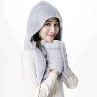 2015 winter new men/women Coral fleece hat,scraf glove 3pcs suit,warm cap