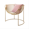 Leisure Modern Round Rose Gold Iron Metal Wire chair for Indoor Outdoor