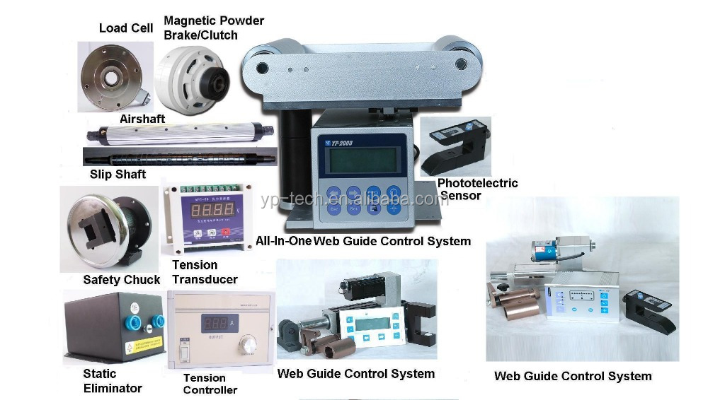 High Quality web guide control system+tension controller+magnetic powder brake and clutch+air and slip shaft+static eliminator