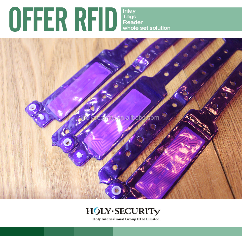 RFID UHF 860-960Mhz ISO 18000-6C SOFT PVC DISPOSABLE WRISTBAND TAG