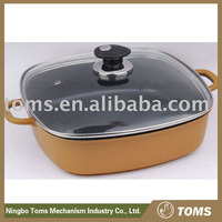 With Glass Lid Die Cast Aluminium Square cast iron fry pan with handle