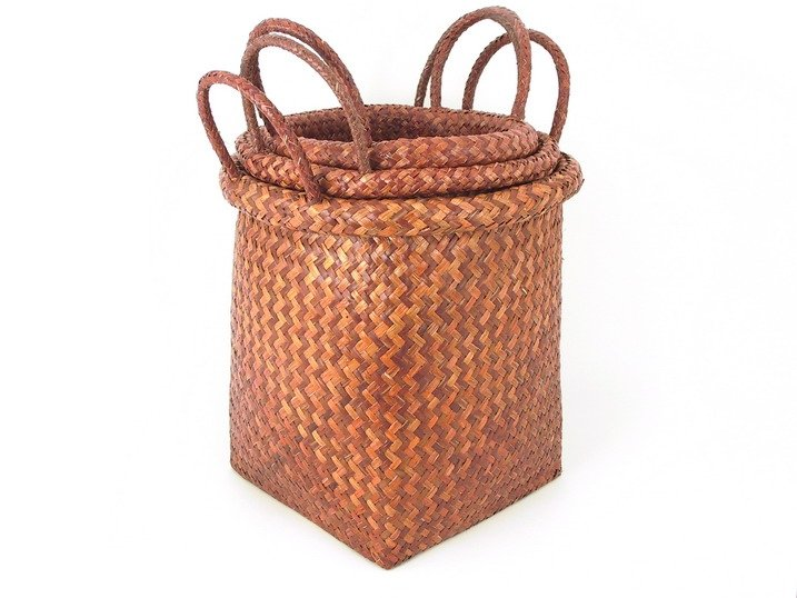 Bulrush Basket with handle set of 3