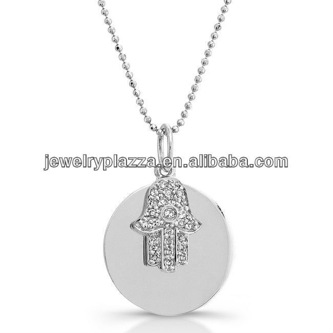 Wholesale 925 Sterling Silver Jewerly,14k White Gold Diamond Disc Hamsa Necklace(M-1790)