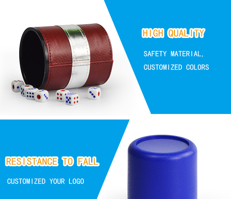 personlzied custom plastic bar led light roll leather dice cup set