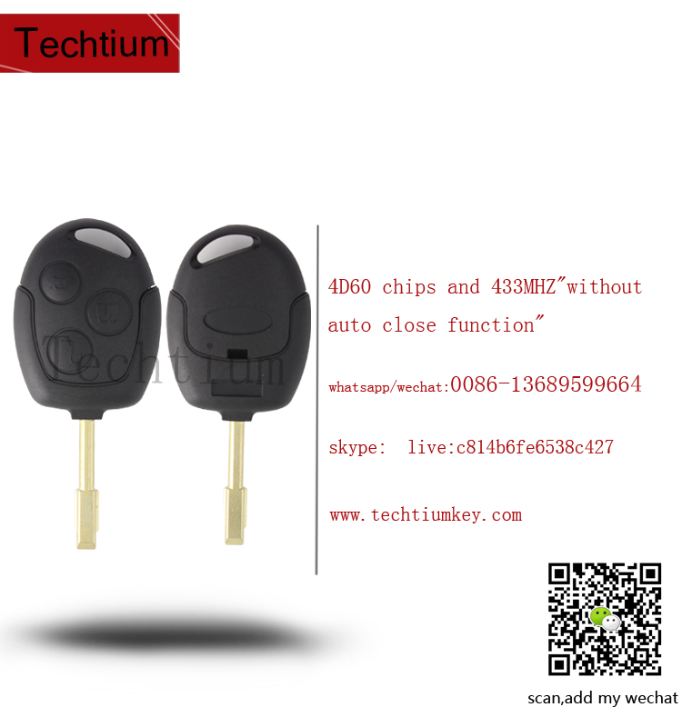 car key programming for Ford Mondeo 3 button Remote key with 4D60 chips and 433MHZ with logo with uncut blade