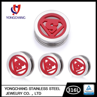 Latest body piercing silver/red logo ear plug&tunnel jewelry for man men