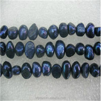 Loose Pearl Beads 7-8mm Dark Blue Smooth on Both Sides Fresh Water Pearl