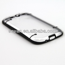 Soft TPU+PC Transparent Hybrid cases 2 in 1 cover for Samsung Galaxy S3 i9300 with Stand function