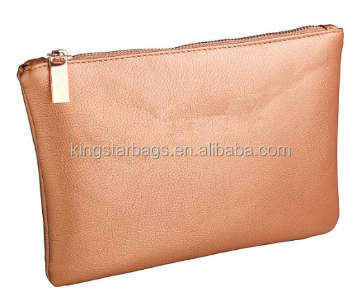 Rose Golden Pebble PU Leather Makeup Pouch Bag Cosmetic