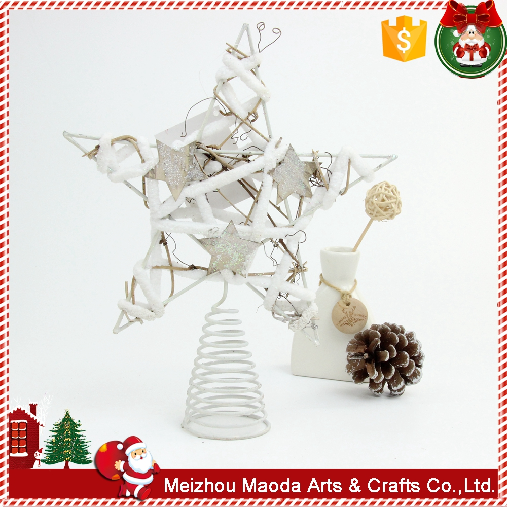 China factory wholesale metal white painting Christmas tree top star