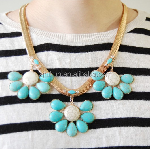 cheap turquoise flower trio station marbled stone crystal statement necklace