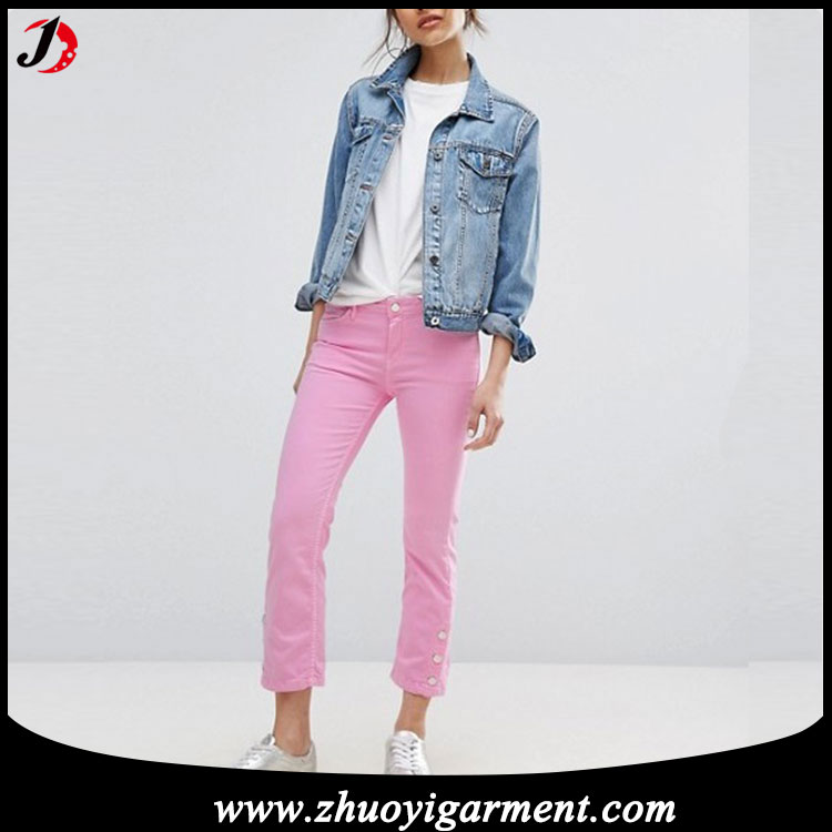 Dongguan City Best Quality Ladies Fashion Mid Waist Jeans Pants