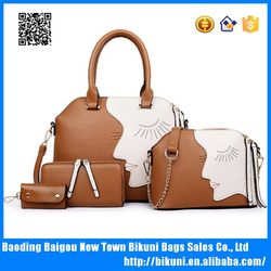 Alibaba hot sale China wholeslae high quality 3 pcs woman bags set tote bags handbag PU leather products