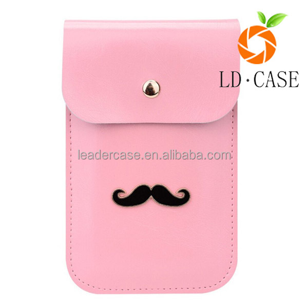 Cute Mustache Design Flip Purse Two Layers PU Leather Mini pouch for iphone