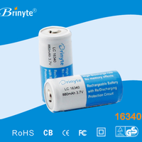 3.6V Rechargeable Over Loaded Protection Lithium ion 16340 Battery