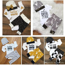 European hot Baby Autumn Winter Clothing Sets Newborn Baby Hello World Letter Print Romper+Long Pants+Hat 3Pcs Outfits infant