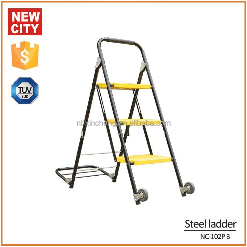 New Product High strength Steel 3 steps library ladder