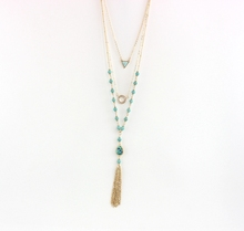 Fashionable turquoise charm triangle long metal tassel three layered necklace