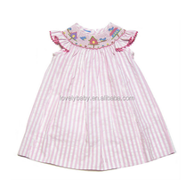 pink color frock design for baby girl stripe cotton dress baby clothes