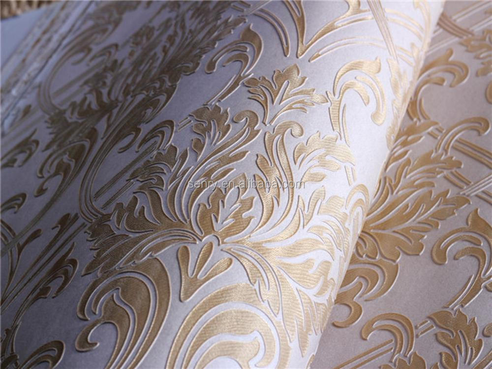 home decor wide width foam 3d price embossed gold wallpaper