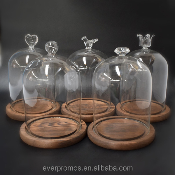 Wholesale Hot Selling Empty Clear Glass Dome with Round Wood Base