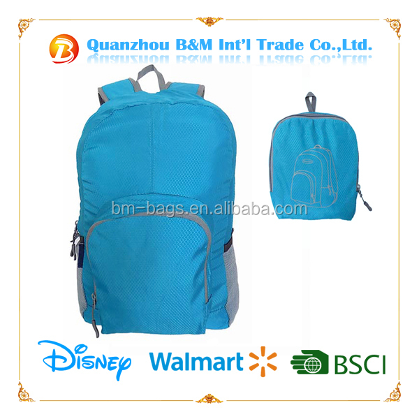 2016 New Products Light Weight Daily Folding School Backpack Bag