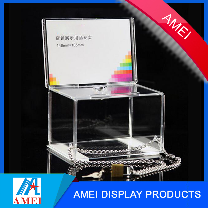 clear customized acrylic donation/ acrylic collection box